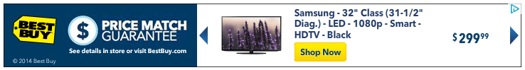 best buy online banner ad for a flatscreen TV